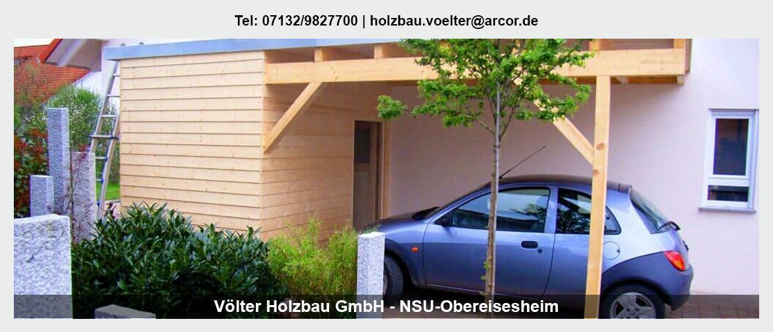 Zimmerei bei Helmstadt-Bargen - Völter Holzbau: Carports, Holzdach Ausbau, Zimmerarbeiten